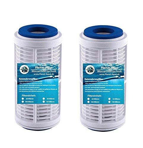 3 x auswaschbare Netzfilter Kartusche - Mehrweg Gitter Filter Patrone 5 Zoll 20 Mikron / µm Schutzfilter, Sand Sedimentfilter Kartusche für Hauswasserwerk Wasserfilter Brunnenwasser Regenwasser Pool Anlage Osmose Vorfilter