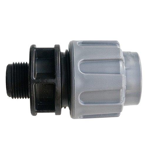 """Quarzflex PE Rohr Verschraubung Kupplung 20 mm x 3/4"""" AG Trinkwasser DVGW Grau"""