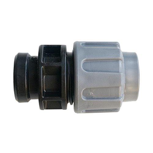 """Quarzflex PE Rohr Verschraubung Kupplung 25 mm x 1/2"""" IG Trinkwasser DVGW Grau"""